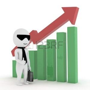 14516383-3d-kleine-geschaftsleute-zeigen-marktwachstum-und-leistung-und-erfolgreiches-unternehmen