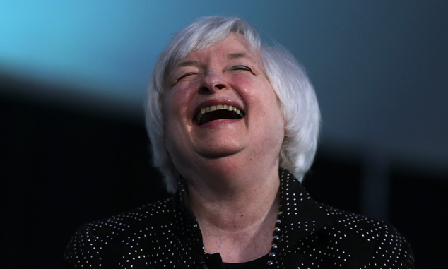 Federal Reserve Chair Janet Yellen laughs while being interviewed as part of a conversation at a Radcliffe Day event at Harvard University in Cambridge, Mass., Friday, May 27, 2016. (AP Photo/Charles Krupa)